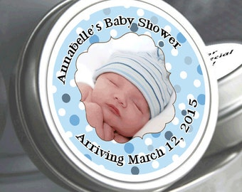 """12 Personalized Blue Photo Badge Baby Shower Mint Tins - Need a different quantity? Click on the """"choose total"""" tab to see all pricing"""