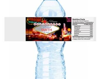 20 Las Vegas Themed Picture Retirement Water Bottle Labels - Las Vegas Retirement Labels - Retirement Stickers - Retirement Bottle Labels