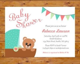 Gender Neutral Teddy Bear Invitation with Carriage - Teddy Bear Baby Shower Invitation - Printable, Custom, Digital File