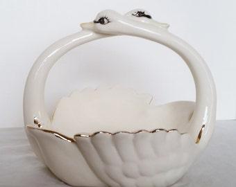 Vintage Hand-painted Ceramic Swan Soap Dish Basket