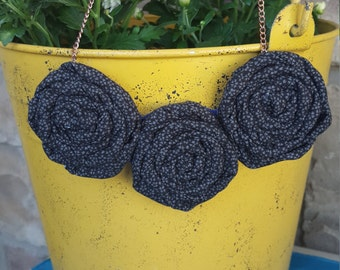 Rolled Rosette Fabric Flower Necklace Black Foral Print