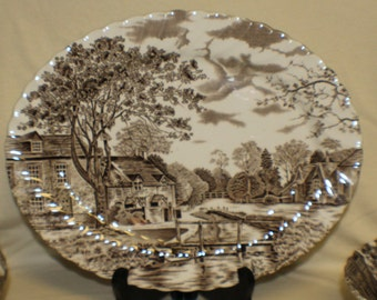 Cotswold Brown Johnson Brothers Large Oval Platter Stoke on Trent China