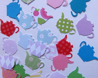 Small Teapot Shapes Decorations, Card Toppers,  Table Confetti 60+ Pieces