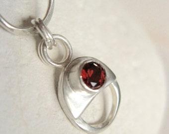 Handmade Sterling silver chain bracelet, garnet bracelet, handmade silver chain, hallmarked silver bracelet, Dorset Hill Jewellery