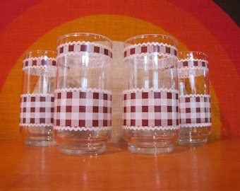 Vintage Libbey Juice Glasses, Brown Gingham Design, Brown and White Checkered Pattern, Retro Tumblers, 1970's