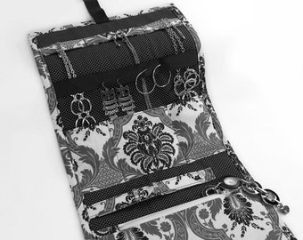 Jewelry Travel Organizer, Jewelry Roll, Jewelry Case in Greyscale Damask Fabric and Pin Dot Interior, Bridesmaid Gifts