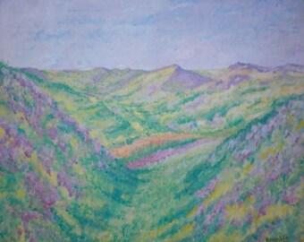 "Oil Painting, Original Oil Landscape Painting on Canvas 22""x18"" by Simon Bramble, Impressionism Oil Landscape Painting, Expressionism Oil"