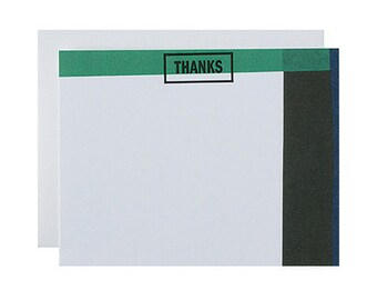 "Letterpress Stationery Box Set, ""Thanks"", Thank You Note, Modern, Minimal"