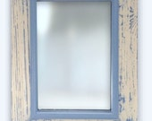 Rectangular Pallet Wood Mirror with Pine Moulding Handmade, Hand Painted & Distressed in Cream and Blue. Upcycled.