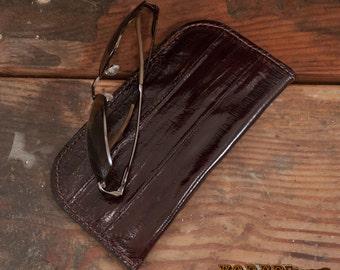 Brown Eel Skin Eyeglasses & Sunglasses Case - Genuine Eel Leather Soft Glasses Case