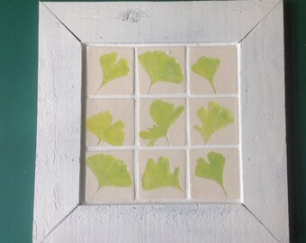 9 ceramic tiles in a rustic white wooden frame, leaves of the gingko biloba tree, home decor, handmade, unique gift