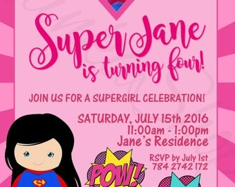 Supergirl party invitations DC SuperGirl Birthday supergirl printable Invitation SuperGirl DIY Photo Invite DC SuperGirl Invite
