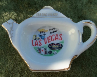 Vintage Las Vegas Tea Bag Holder Souvenir