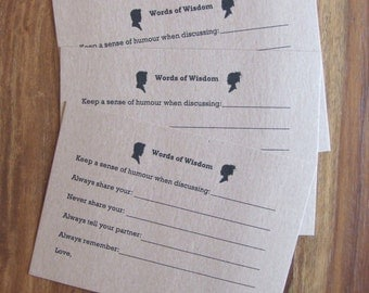 Rustic, Vintage, Silhouette, 'Words of Wisdom' cards, Guest Cards, Shower Cards, Advice Cards