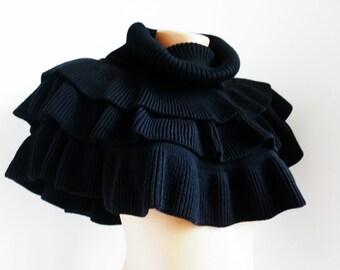 Winter black collar, soft collar, woolen shawl collar, vintage black collar, big winter collar