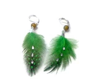 Green feather, stone & rhinestone earrings