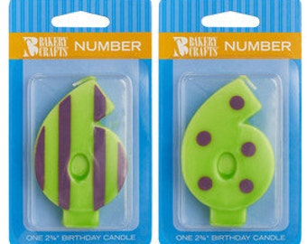 """6 Birthday Candle - 2.75"""" Orange Dots & Stripes #6 number six"""