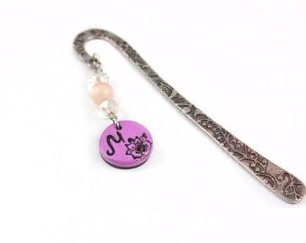 Personalized charm bookmark -  Initial bookmark - Polymer clay initial charm - Violent - Personalized Gift - Monogram book mark - Purple M
