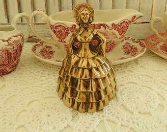 Vintage Brass Visitors Bell Lady, English Hand Solid Heavy Large Brass Bell, Kitchen Vintage Table Decor Decoration Ornament, Collectibles