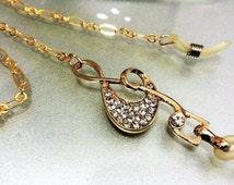 Eyeglass neck holder/Treble clef Eyeglass Chain/Brass Chain Lanyard glasses/ Necklace Holder/Elegant eyeglass keeper/Necklace Keeper