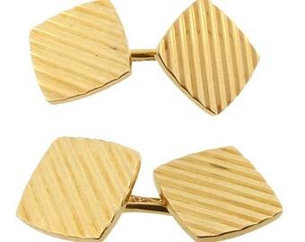 Tiffany Art Deco 14K Yellow Gold Double-Sided Cufflinks