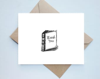 Bookish Thanks Set - 10 // Handmade Thank You Book Card Set - Boxed Set - Bibliophile Card - Thanks Card - Unique Card