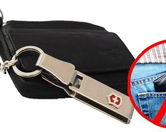 Black leather key pouch extra safe with afklikbare Victorinox © necklace. Art, 2102.