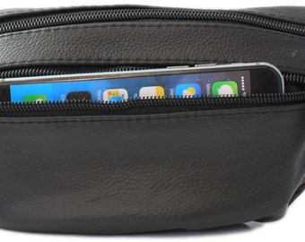 Black leather waist bag Pouch of Safekeepers. Travel and Festival smart. Ideal for mobile (Iphone) and wallet art. 8683