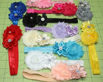 Super Cute Baby Girl Shabby Chic Headbands! 12 colors to choose from - Perfect for your newborn, infant, or toddler. Nice picture prop!