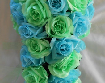 Malibu blue and mint all roses cascade  silk bouquet 5 pc