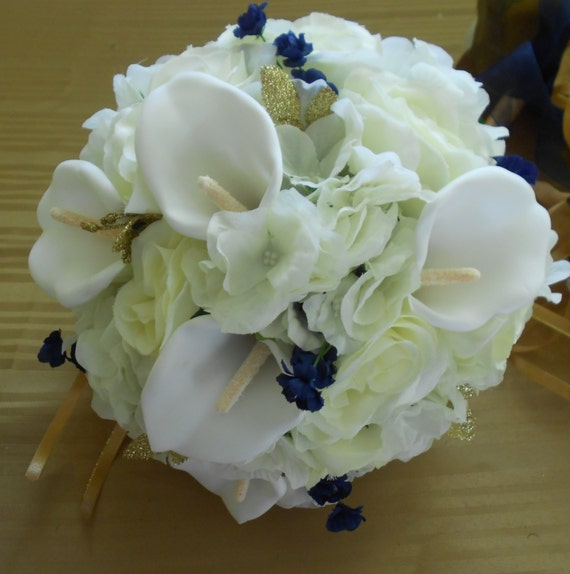 Hydrengeas, calla, and roses  royal blue ivory and white cascading bridal bouquet 2 pc free toss