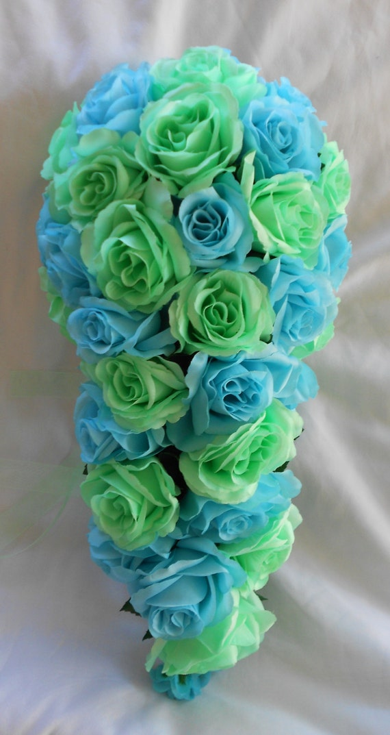 Malibu blue and mint all roses cascade  silk bouquet 20 pc
