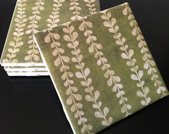 Table Coasters - Ceramic Coasters - Tile Coasters - Drink Coasters - Home Decor - Set of Four - Vines - Green - White