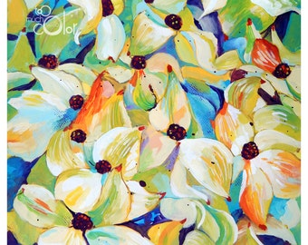 "Cornus Kousa - Original colorful traditional acrylic painting on paper 11""x14"""