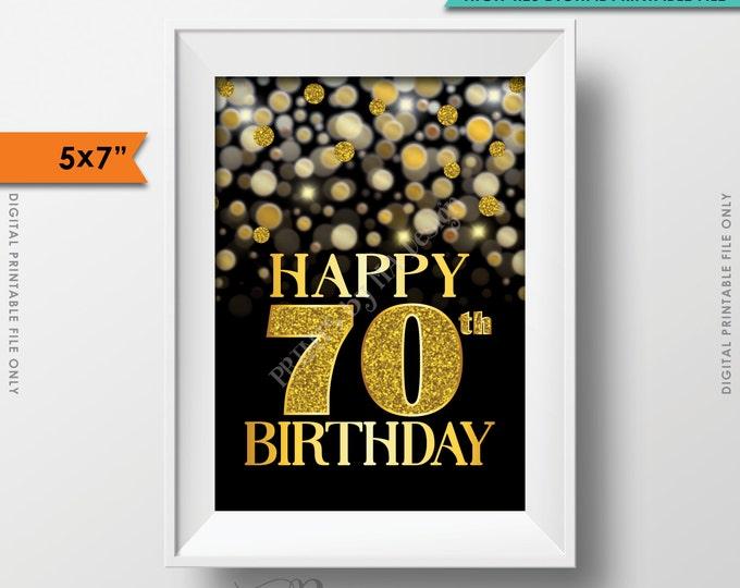 "70th Birthday Card Black & Gold Glitter 70th B-day Golden Bokeh, Turning Seventy Birthday Card, 5x7"" Instant Download Digital Printable File"