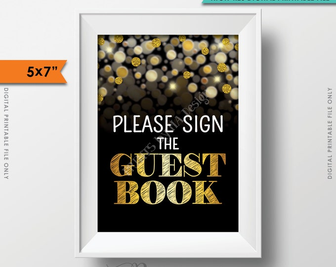 """Please Sign the Guestbook Sign, Birthday Anniversary Retirement Graduation, Guest Book, Black & Gold Glitter Instant Download 5x7"""" Printable"""