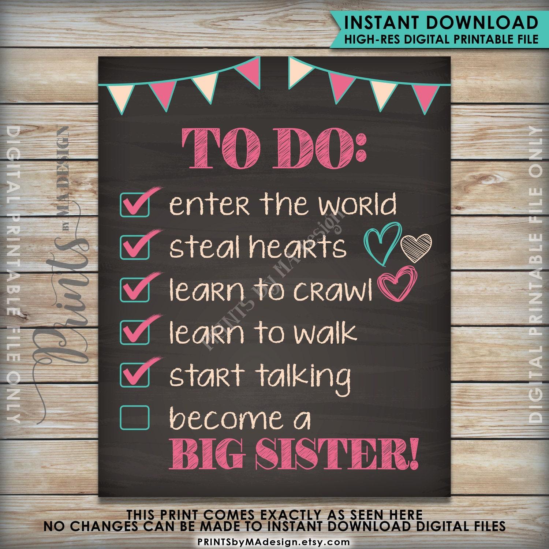 To Do List Big Sister Checklist Pregnancy Announcement ...