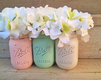 Shabby Chic Nursery Decor Shabby Chic Home Decor Painted Mason Jars Country Chic