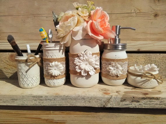 Mason Jar Bathroom Set With Burlap Mason By