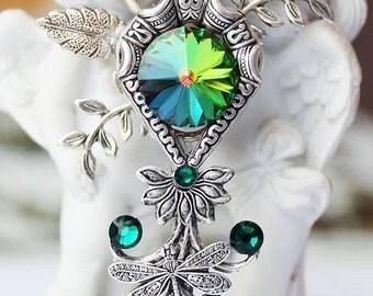 green key, green key necklace, key necklace, key jewelery, fantasy key, keys