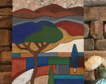Original Oil/Acrylic Painting, mixed media, landscape art, mosaic art, canvas art, fine art, Italy trees, wall decor, Angela Sharkey