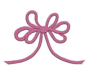 ON SALE Large Curly Pink Ribbon Bow Machine Embroidery Baby Design 5 x 7  Instant Download