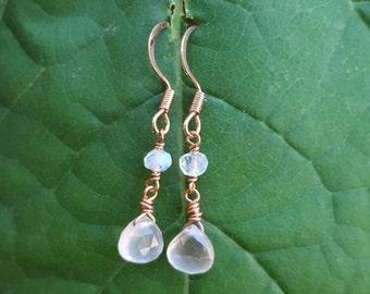 Rose Quartz and Rainbow Moonstone Dangle Earrings, Rose Quartz Earrings, Rainbow Moonstone Earrings, Dangle Earrings, Gift for Her