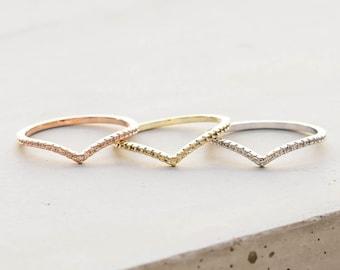 Thin 1.3mm V Chevron Ring Multicolor 3 Ring Set