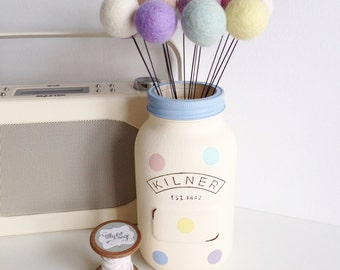 Felt ball pastel pom pom flowers - set of 10
