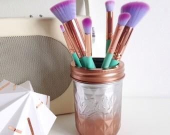 mason jar makeup brush holder. copper and chrome ombre quilted ball mason jar - makeup brush holder, vase, desk holder