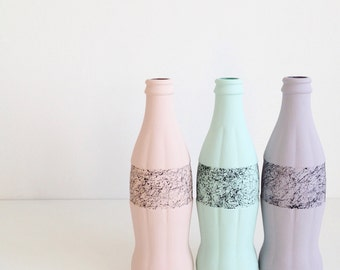 FREE UK P&P - Hand painted pastel glass bottles with marble effect