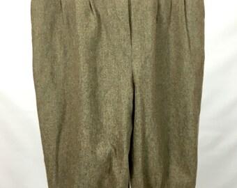 Vtg Women's M Gaucho Pants High Waist POCKETS Textured Tans