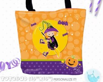 SALE witch halloween Personalized Tote Bags, custom Tote bag, kids tote, school tote, kindergarten tote, beach tote bag, Tote Bags TB138