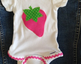 Strawberry Ric Rac Applique Onesie